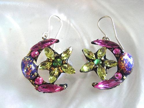 Annie Sherburne Pink Crescent Moon & Star Earrings