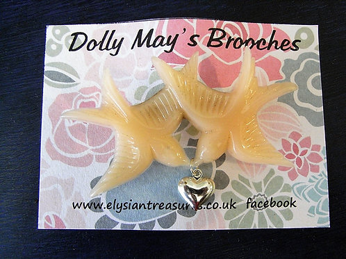 Dolly May Swallow Charm Brooch