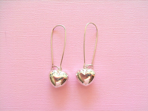 Sea Daisy Large Puff Heart Earrings