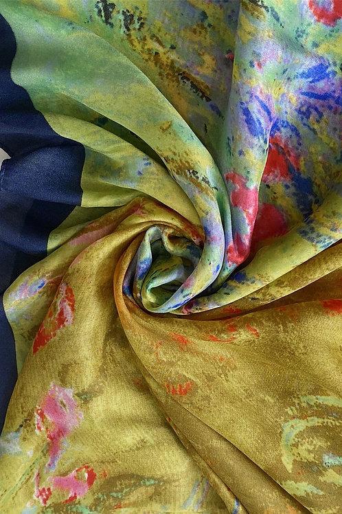 Painted Flower Garden Scarf 100% Silk
