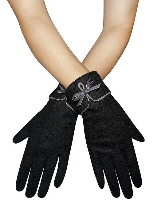 Black Preppy Style Bow Touchscreen Gloves