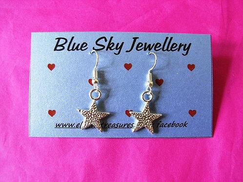 Blue Sky Hammered Star Earrings