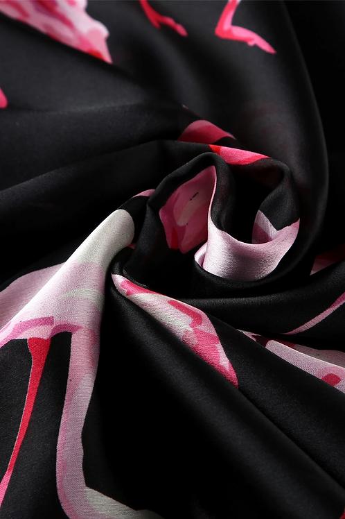 Flamingo Silk Scarf   100% Silk