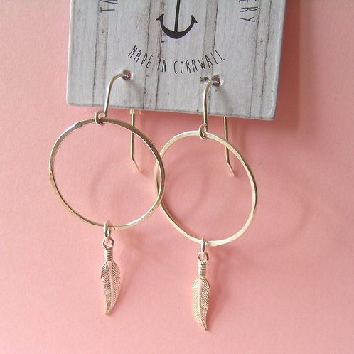 Old Farmhouse Silver Feather Hoops