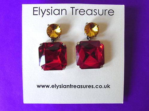Red + Gold Drop Earrings