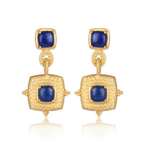 Gold + Lapis Decorative Square Drop Earrings