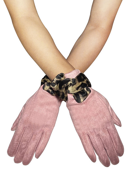 'Suede' Pink Style Touchscreen Gloves with Leopard Print Bow