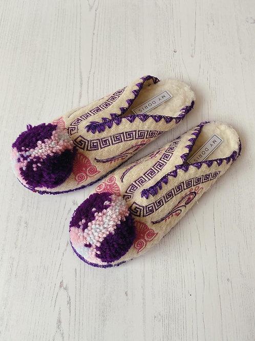 My Doris Plum Purple & Pink Greek Slippers