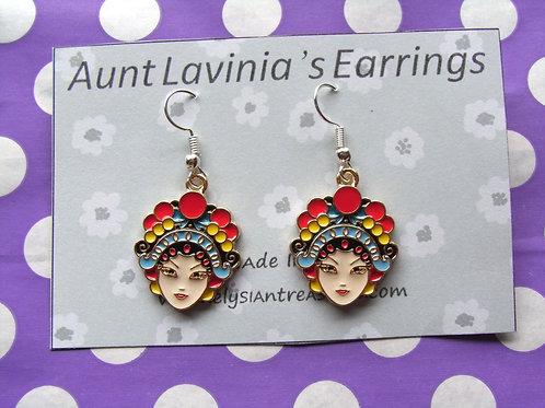 Aunt Lavinia's Exotic Lady Enamel Earrings
