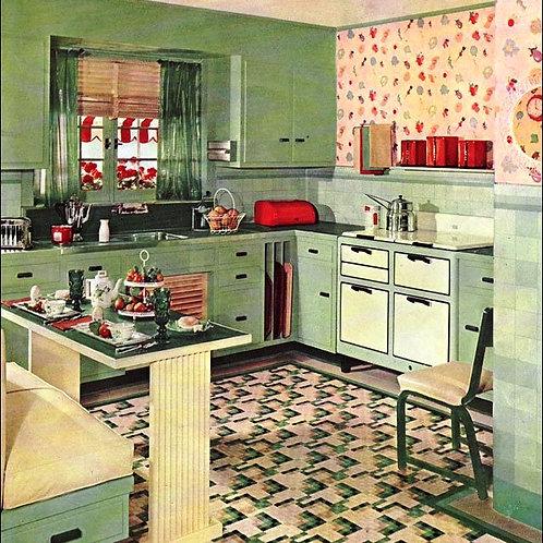 American 1950's Vintage Kitchen Image Card