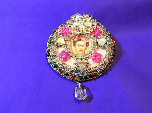 Frida Khalo Magenta Gold Brooch