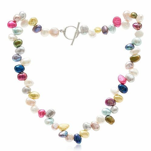 Single Strand Mixed Colour Side Drilled Necklace
