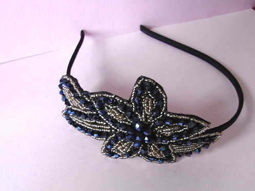 Midnight Blue Beaded Flower Hair Band