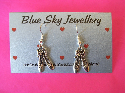 Blue Sky Ballet Shoe Earrings