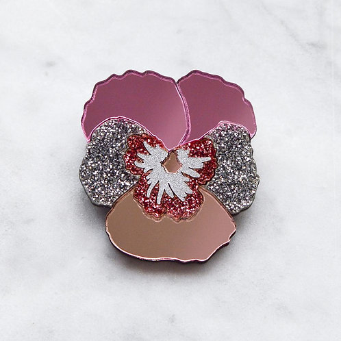 Esoteric Pink Textured Pansy Brooch