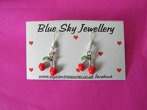 Blue Sky Cherry Earrings