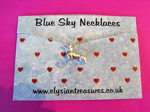 Blue Sky Sausage Dog Necklace