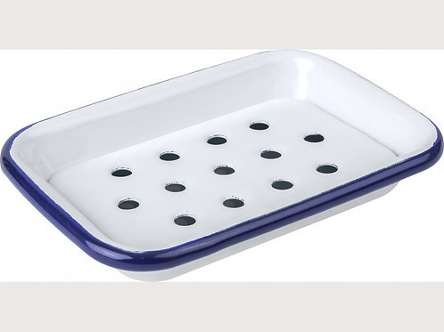 Falcon Blue and white Soap Dish with Removable Drain Tray
