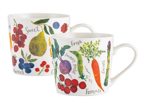Farmers Market Assorted Fine China Mugs