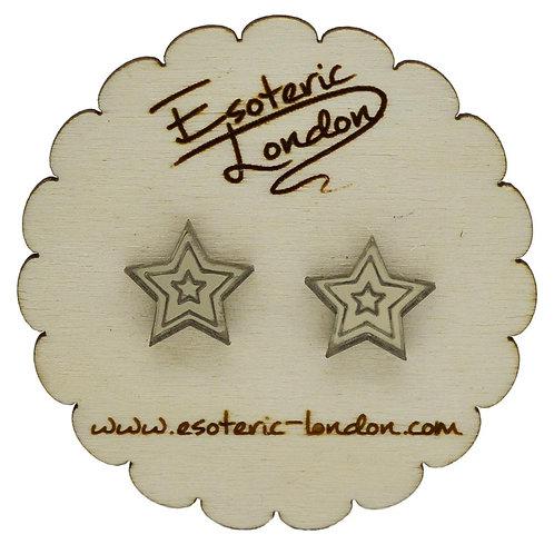 Esoteric Bronze Mirror Star Stud Earrings