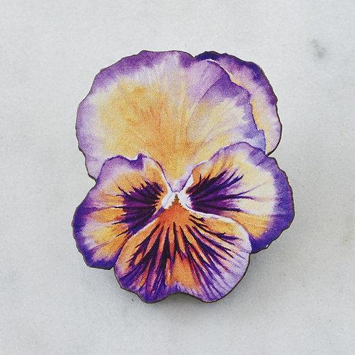 Esoteric Purple/Orange Pansy Brooch