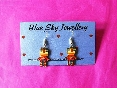 Blue Sky Orange Robot Earrings
