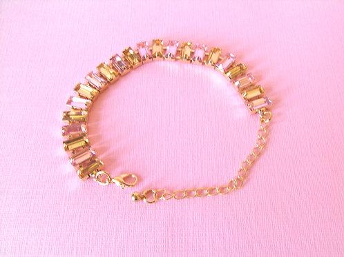 Pink + Gold Crystal Bracelet