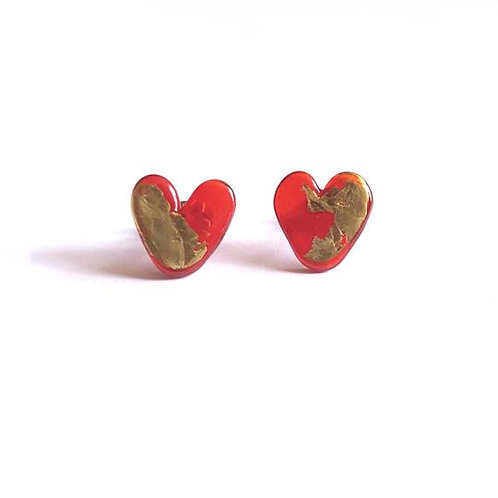 Helen Chalmers Ruby Heart Earrings (Design 25)