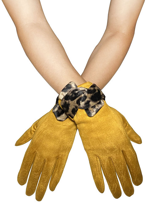 Mustard 'Suede' Style Touchscreen Gloves with Leopard Print Bow
