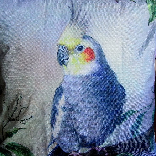 Blue / Grey Parrot Cushion Cover