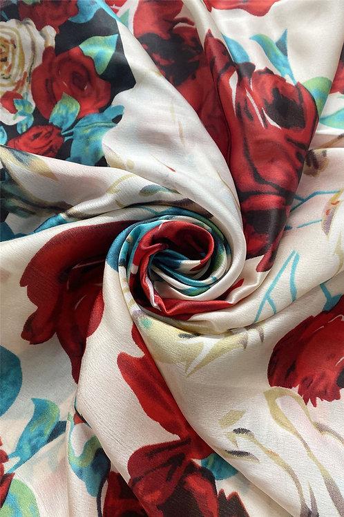 Classic Rose Scarf 100% Silk