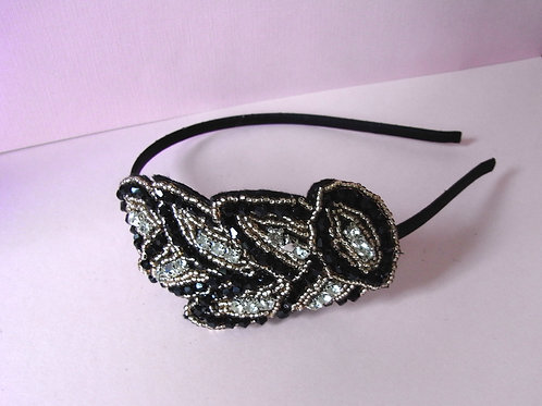 Black /Gold Beaded Hairband
