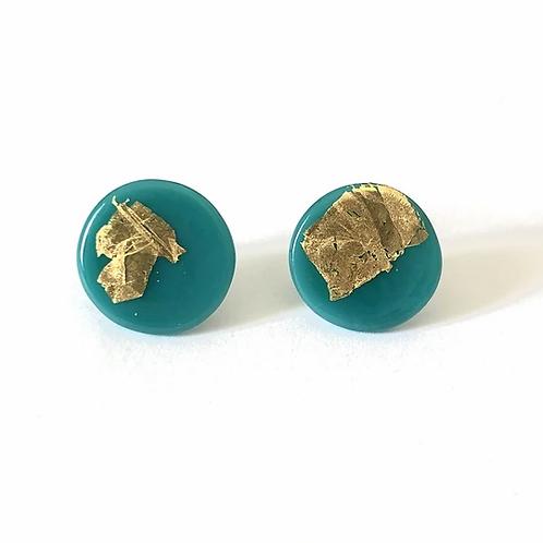 Helen Chalmers Teal Button Studs (Design 33)
