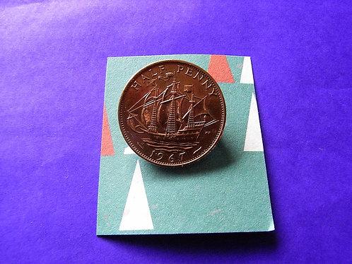 1967 Half Penny Coin Brooch