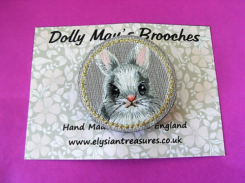 Dolly May Embroidered Bunny Brooch