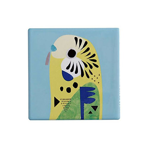 Maxwell & Williams Pete Cromer Ceramic Square 9.5cm Coaster Budgerigar