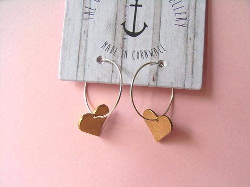 Old Farmhouse Silver Hoop Brass Heart Charm Earrings