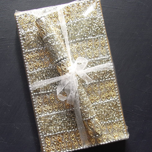 Gold Beaded Note Book + Pen