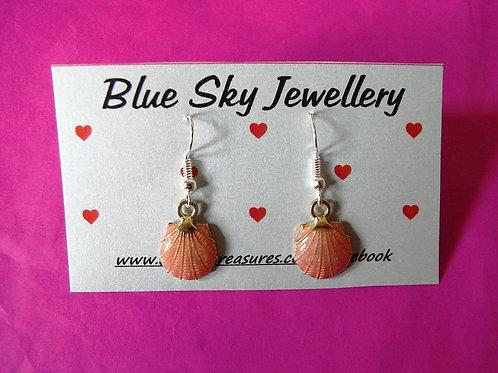 Blue Sky Pink Enamel Shell Earrings