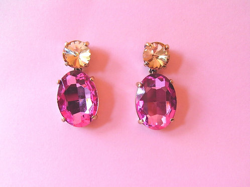 Pink Panther Crystal Stud Earrings