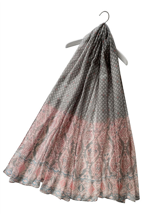 Moroccan Style Grey Print Scarf