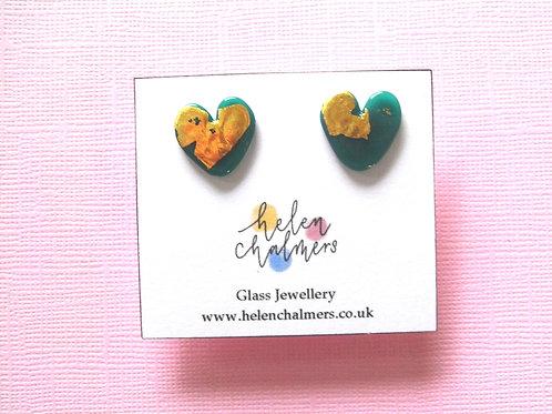 Helen Chalmers Teal Heart Stud Earrings (Design 29)