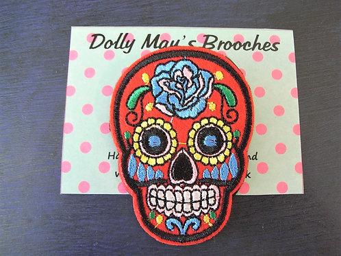 Embroidered Skull Brooch