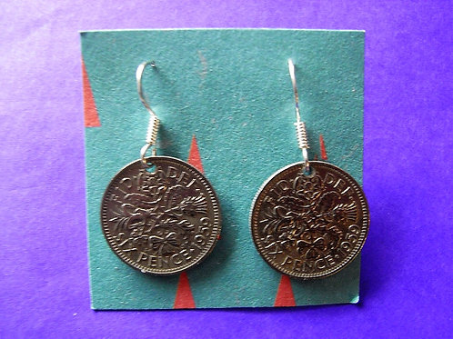 1959 Sixpence Coin Earrings