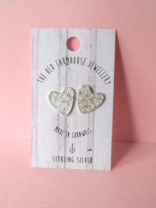 Old Farmhouse Silver Stamped Heart Stud Earrings