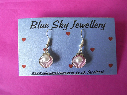 Blue Sky Pink Shell Earings