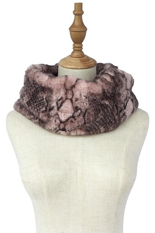 Pink Snakeskin Print Faux Fur Soft Snood
