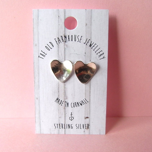 Old Farmhouse Silver Heart Stud Earrings