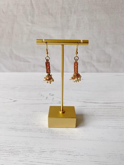 Blush Enamel Pearl Cluster Earrings