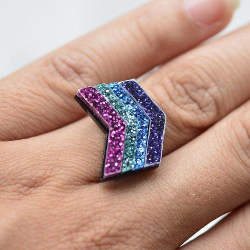 Esoteric Chevron Disco Ring